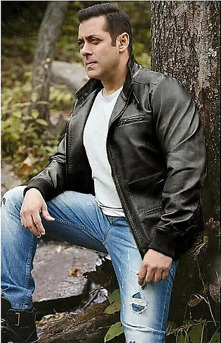 Salman Khan Celebrity Black Faux Leather Jacket For Men