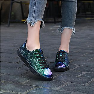 ◎Beautiful Women◎  Fashion Sequins Solid Color Sneakers Nightclub Trend Wild ...