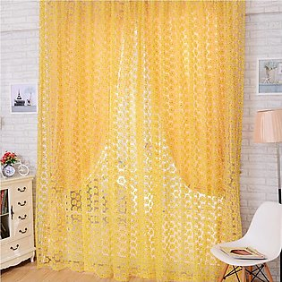 Window Curtain Rose Pattern Sheer Voile Tulle Valances Balcony Curtain
