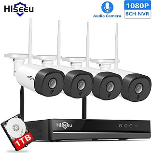 Hiseeu WNKIT-4HB312 8CH 1080P Wireless CCTV Security System 2MP IR Outdoor Au...