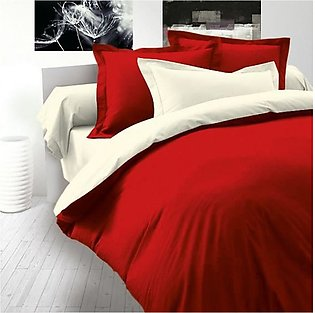 Beddys Studio Solid Colour 6 Pcs Red And White Contrast Comforter Cover Set