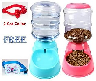 2 pieces of Automatic Pet Water 0r Food Dispenser 3.8L Large Capacity Self-Disp…