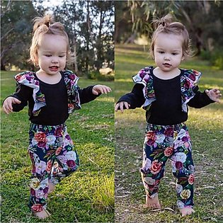 Newborn Baby Girl Boy Tops Romper Floral Pants Headband Outfits Set Clothes