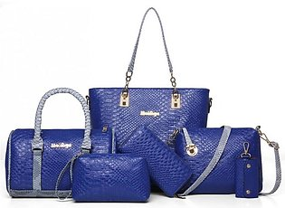 BLUE 5 PIECE SNAKE PATTERN LADIES HAND BAGS SET