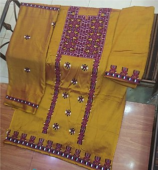 Balochi Pashka Staple Susi 3 Peice Heavy Front and Back Embroidered Embroider...