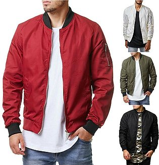 Fashion Men Casual Business Jacket Thin Autumn Baseball Outerwear Bomber Coat