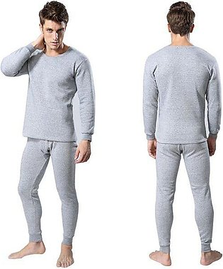 New Imported Men's Winter Thermal Underwear Suit Circular Collar Pure Color War…