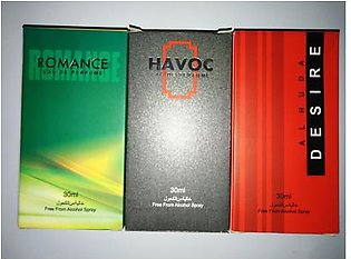 3 bottles perfume of alkohl free havoc desire and romance of 30 ml each