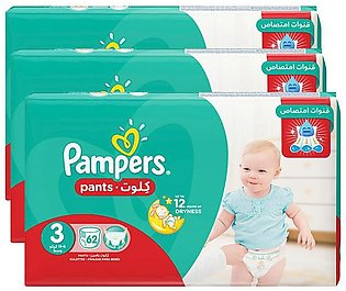Pampers Pack of 3 Baby Dry Diapers Pants Size 3, 62 Count