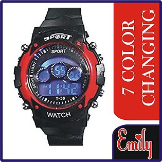 7 Colors Changing Light Sports Digital Watch For Kids