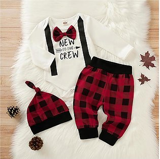 Newborn Infant Boy Gentlemen Bow Letter Romper Plaid Pants Hat Outfits Set
