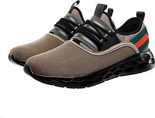 Men's Breathable Sports Running Shoes Walking Shoes Lightweight Running Shoes-Khaki 45