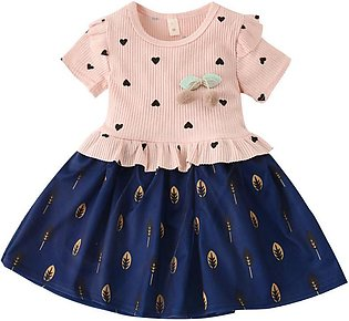 Toddler Baby Kid Girls Ruffles Ruched Love Cherry Tulle Patchwork Casual Dresses