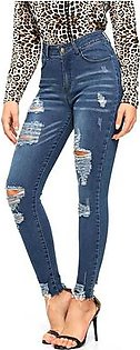 Womens High Rise Jeans Stylish Skinny Ripped Denim Jeans