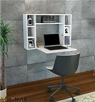 folding wall mounted desk with display shelves