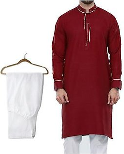 Buy 1 Ready Made Designer Kurta For Men - Design 6 - Mahroon + 1 Pajama