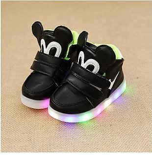 M Spring Led Children Shoes With Light Kids Casual shoes Boys Girls 21-25 Size-black 23