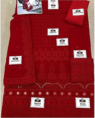 Ayeza Khan Festive Collection Embroidered Red Chiffon Maxi For Women