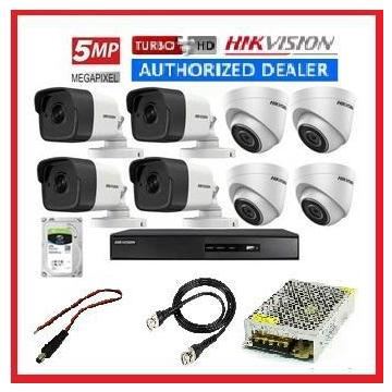 HIKVISION 8 Channel 5MP EXIR 8 Channel Turbo HD CCTV Kit Package 1 TB HDD - Hikvision 4 Camera Complete Premium Package