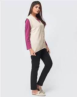 Oxford Lambswool Sleeveless Cardigan For Women