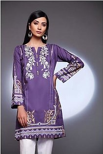 So Kamal Women Winter Collection 2019 Purple 1 PCS Pret - Embroidered Cambric Shirt DPW19-622