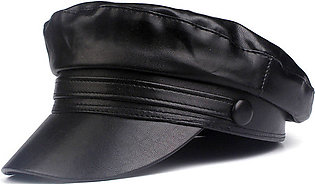 Xthree Flat Faux Leather Cap Winter Hat Chain Military Hat Fashion Hats for Wom…