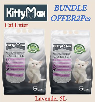Cat Litter-KITTYMAX CAT LITTER- BEST CLUMPING WHITE BENTONITE- Lavender 5L-(BUN…