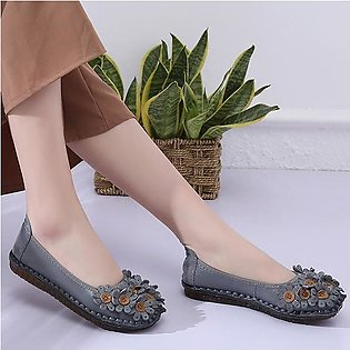 SOCOFY Fashion Women Handmade Genuine Leather Flower Flat Soft Casual Loafers