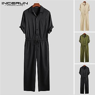 INCERUN Mens Casual Short Sleeve Overalls Pants Jumpsuits Rompers Cargo Trouser
