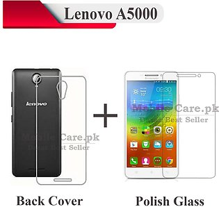 Lenovo A5000 Tempered Glass Screen Protector Polish Glass + Transparent Back ...
