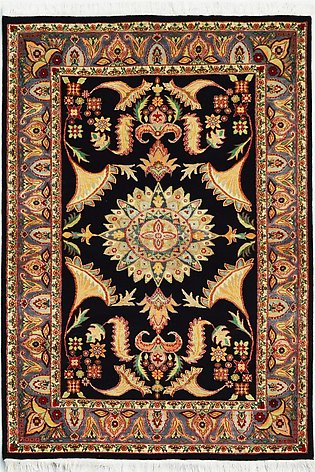 4 X 6 New Black Color Hand-Knotted Area Rug in Floral Design
