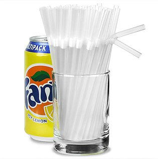 Pack Of 50 White Bendable Straws Cold Drink or Juice Straw