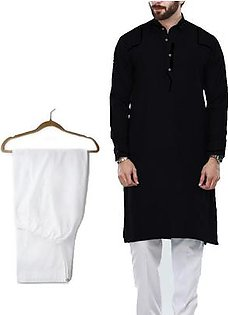 Buy 1 Ready Made Designer Kurta For Men - Design 7 - Black + 1 Pajama