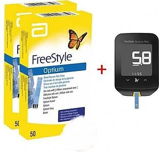 Abbot FreeStyle Optium Neo Glucometer Gluco Meter Device + 100 Test Strips
