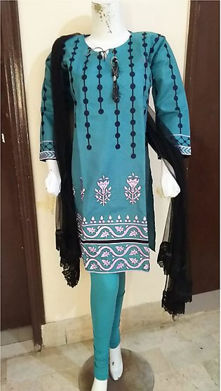 Light Blue color embroidered & stitched three piece suit for females stuff cott…