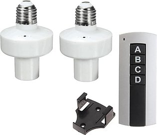 2 Channel Remote Wireless Control Light Lamp Bulb Holder Socket Switch with 2 p…