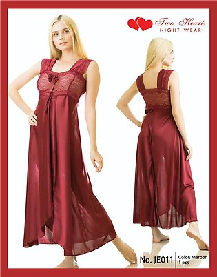 Nighty New Style Long Ladies Night Suit And Casual Dress Maroon Colour