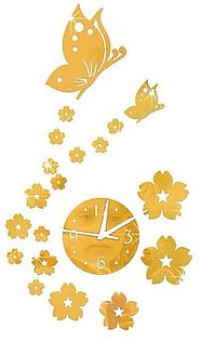 GZ012 Butterfly Love Flower Acrylic Mirror Wall Clock Wall Mirror Wall Clock