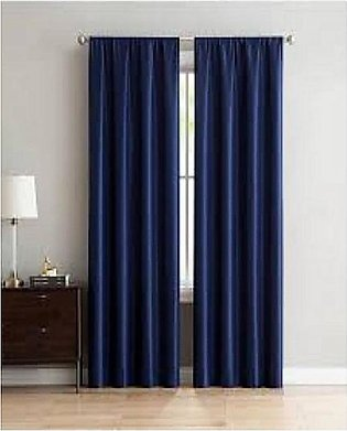 2 Piece Blue Eyelets Rings Heavy Velvet Curtains Exported