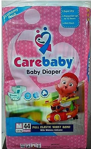 Care Baby Diapers Medium Size - 44 Pieces (4-9 Kg) Economy Pack
