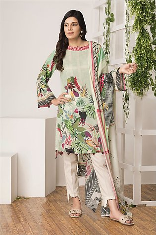 BTW Unstitched Glenwood Green 2 Pc Printed shirt for Women