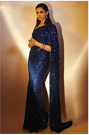 #woman designer blue sequence stiched saree