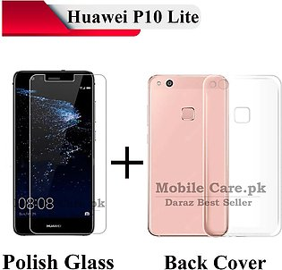 Huawei P10 Lite Tempered Glass Screen Protector Polish Glass + Transparent Back…