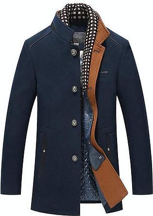 Mens Woolen Casual Slim Jacket Check Stand Neck Long Sleeve Coat