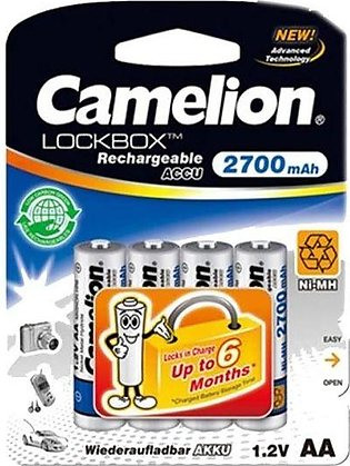Battery AA Camelion 2700mAh Always Ready Rechargeable 4 Cell Pack For Cameras O…