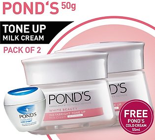 FREE POND'S COLD CREAM 55ML WITH PACK OF 2 POND'S WHITE BEAUTY TONE UP CREAM ...