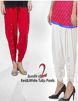 Pack Of 2 - Red And White Tulip Pants For Women