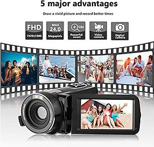 Camera Video Camera HD Camcorder,Kenuo 1080P 24MP HD Digital Recorder 3.0''TF...