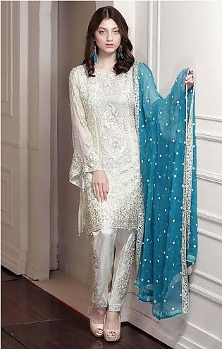 Fancy Chiffon Embroidred Unstitched Dress For Women
