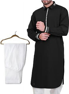 Buy 1 Ready Made Designer Kurta For Men - Design 5 - Black + 1 Pajama